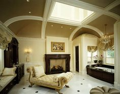 vaulted ceiling, chaise.  Bath