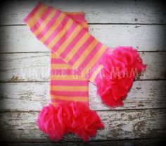 Customizable Hot Pink Ruffle Hot Pink And Orange Striped Leg Warmers Ruffled Tutu Tights Leggings Hot Pink Chiffon Birthday Party Leggins. $13.99, via Etsy.