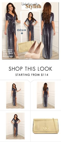 """""""Desir Vale gray velvet dress"""" by mada-malureanu ❤ liked on Polyvore featuring MICHAEL Michael Kors, Charles David, dress, maxidress, dreamydress and DesirVale"""