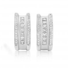 Rudells 18ct White Gold Diamond Half Hoop Earrings - Small Image