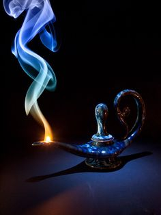 I'll Grant Your Wish as Soon as I Finish Smoking (Smoke Art by Mark - Smokreations on Aladdin, Deco Disney, Genie Lamp, Genie In A Bottle, Smoke Art, Arabian Nights, Art Graphique, Fire And Ice, Make A Wish