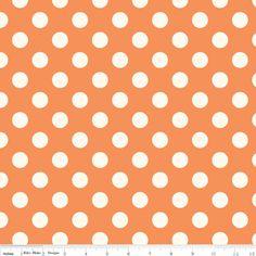 Riley Blake Designs - Le Creme Basics - Medium Cream Dots in Orange