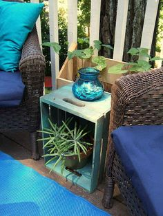 You can also turn crates on their end for handy end tables. 31 Clever Ways To Decorate Your Outdoor Space