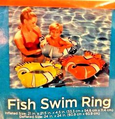 Fish Swim Rings F... found at  http://keywebco.myshopify.com/products/fish-swim-rings-floating-clown-fish-21-inch-inflatable-new-in-package