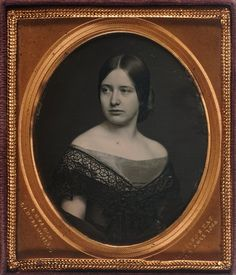 Young woman in off-the-shoulder gown, ca 1850