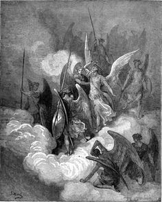 The Archangel Michael challenges Satan in battle before he is cast out of Heaven.