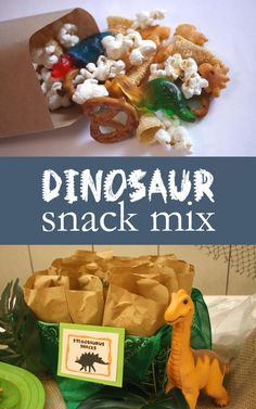 """We're definitely a snacking family. So, when I came across this dinosaur snack mix idea from The Skinny Fork, I knew I had to incorporate it into my son's dinosaur-themed party. Of course, it was a big hit…mainly because it includes fun dino-shaped treats in each bag. At Noah's party, I labeled the snack mix as """"Stegosaurus Snack Mix,"""" because I love using alliteration when creating fun names for the food I used at each party. (But the mix did[Read more]"""