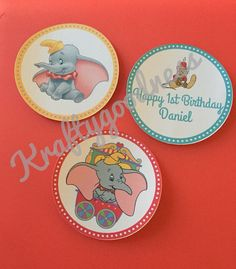 Dumbo cupcake toppers  customizable set of 12  by MyKraftygoodness