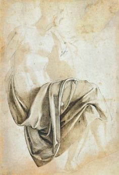 Michelangelo - Study for the drapery of the Erythraean Sibyl, 1508-12 © The Trustees of the British Museum