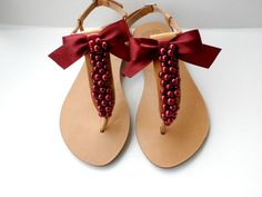 Burgundy red wedding sandals- Greek leather sandals with burgundy pearls and satin bow- Bridal party- Women flats- Bridesmaid sandals