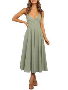 """""""Welcome To Our StoreThe item is made out of soft and comfortable polyester fabric. Featured with v neck, spaghetti sleeveless, backless and back tie up, give it very flattering look. Paired with your favorite sandals and heels. This casual swing dress is perfect for summer, vacation, outdoor, beach, traveling, party or casual occasion. Take a look at our store \""""KKSHOW\"""", you will find more what you want!"""" Beach Dresses, Sexy Dresses, Dress Beach, Midi Dresses, Summer Dresses For Women, Swing Dress, Dress Brands, Backless, Lace Up"""