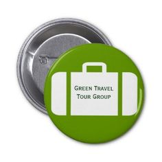 Group Travel Pinback Button with a suitcase on it.   Personalize with the travel group information so that all members of the group are easy to recognize. Text and background color may be changed.