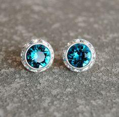 Dark Peacock Teal Blue Rhinestone Earrings - Swarovski Crystal Indicolite Stud Earrings - Sugar Sparklers Small - Mashugana. $18.50, via Etsy.