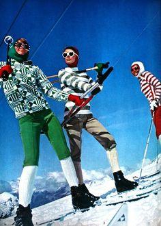 If only skiing was like this today Ski Vintage, Posters Vintage, Photo Vintage, Vintage Winter, Vintage Travel, Ski Fashion, Sport Fashion, Fashion Photo, Daily Fashion