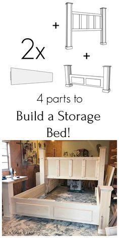 DIY Storage Bed--Printable Woodworking Plans and Video Tutorial King Size Storage Bed, Diy Storage Bed, Bed Frame With Storage, Bedroom Storage, Diy Furniture Projects, Diy Furniture Plans, Furniture Makeover, Modern Furniture, Furniture Design
