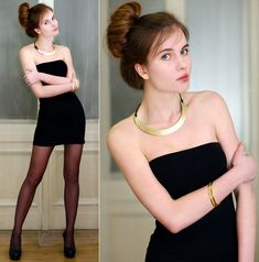 Bershka Little Black Dress, Embis Black Pumps, Gold Bracelets, River Island Gold Collar Necklace, Black Tights