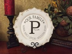 OUR FAMILY PLATE by BurlapPillowsEtc on Etsy