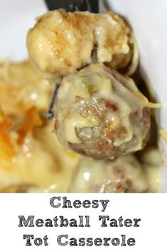 Easy Cheesy Meatball Tater Tot Casserole This easy Meatball Tater Tot Casserole is sure to be a casserole that your family will love! Perfect for a quick dinner on a busy weeknight. Meatball Recipes, Beef Recipes, Cooking Recipes, Hamburger Recipes, Recipies, Fall Recipes, Recipes With Meatballs, Cooking Tips, Potatoe Casserole Recipes