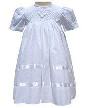 0fd2ff8f0d15d Baby girls white dress with smocking and ribbons 12m and 18m – Carousel Wear  Baby Girl