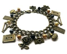 Clueless Inspired Vintage Gold Charm Bracelet by Eclecticult