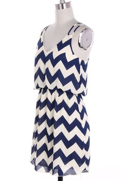 Navy Chevron Dress. Perfect for the 4th!!
