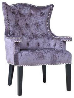 Crestview CVFZR905 Fifth Avenue Upholstered Eggplant Velvet Chair W/  Nailhead Tr Transitional Furniture