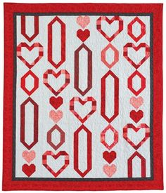 """McCall's Quilting - """"Chain of Hearts"""" Throw and Table Runner Pattern - Designed by Abigail Dolinger. Heart Quilt Pattern, Easy Quilt Patterns, Quilting Tutorials, Quilting Projects, Mccall's Quilting, Quilting Ideas, Craft Projects, Craft Ideas, Lap Quilts"""