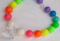 Neon Rainbow Girls Chunky Necklace by AlternativeScraps on Etsy, $15.00