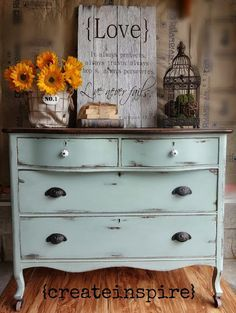 gorgeous Antique Dresser in Duck Egg by CeCe caldwell's Chalk + Clay paints.  Get what you need for your painted furniture project at VintageBette.com.