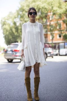 White dress and suede boots