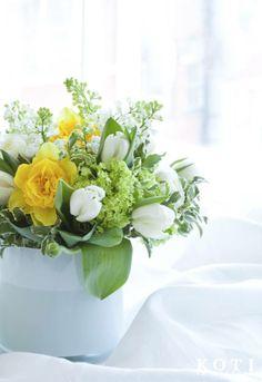 Keväisessä pääsiäiskimpussa hehkuu kevät. Kimppu rakentuu valkoisista tulppaaneista ja jaloleinikeistä sekä keltaisista narsisseista. Koristeena on käytetty lumipalloheisipensaan kukintoja ja kielokiiltopuunoksaa. | Anna Kristeri  | kuva Fabian Björk