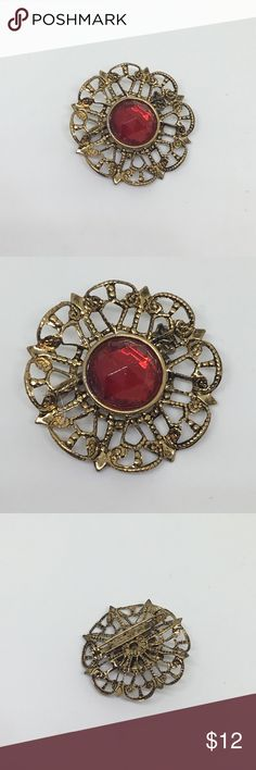 "🆕Vintage Gold Filigree and Red Rhinestone Pin A simply beautiful 80s vintage pin in gold filigree, with a red acrylic rhinestone set in the middle. 1.5"" in diameter. When you want that perfect touch! Vintage Jewelry Brooches"