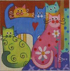 Amanda Lawford Cat Layers by MK Hand Painted Needlepoint Canvas 18 Count Cat Cross Stitches, Hand Embroidery Stitches, Cross Stitching, Cross Stitch Embroidery, Modern Cross Stitch, Cross Stitch Designs, Cross Stitch Patterns, Needlepoint Patterns, Needlepoint Canvases