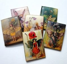 Beautiful tiny tiles - made from ShrinkyDinks and Envirotex glaze - these look amazing! I think I can finally re-create those vintage jewelry pieces I can never find - and can use ANY DESIGN I want, since these are printed out - Great idea! - from resincrafts - #crafts #jewelry #ShrinkyDink #tiles #resin - ta√