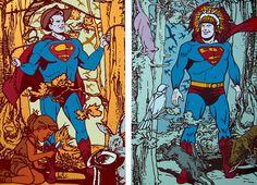 "Gabriele Arruzzo, ""senza titolo (Super Diptych)"",  enamel and acrylic on canvas,  2 elements150x100cm each, 2004 #gabrielearruzzo #art #painting #Superman"