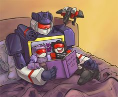 Daddy Soundwave with his horde of adopted children. It seemed like a fitting thing to draw for Father's Day. Soundwave is the ultimate robot-dad *v*