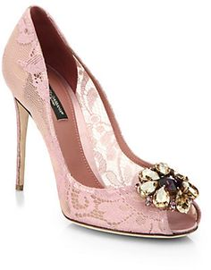 Emmy DE * Dolce & Gabbana ~ Embellished Lace Peep Toe Pump, Pink 2015