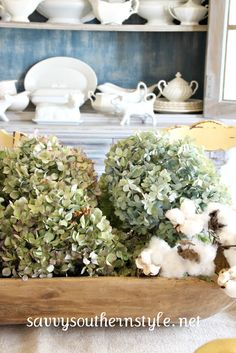 LOVE dried hydrangeas!  -Savvy Southern Style