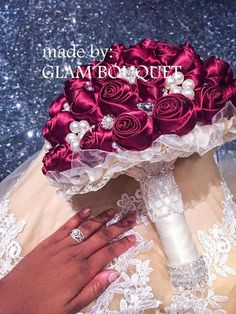 Satin Burgundy Bridal Brooch Bouquet | custom-made bridal brooch bouquets. Find custom wedding brooch bouquets perfect for any wedding vintage bridal brooch bouquets