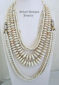 Schaef Designs buffalo turquoise, off white agate, & sterling silver necklaces | New Mexico