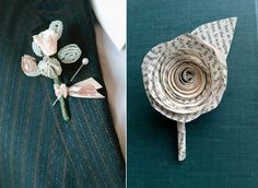 20 Quirky Alternative Boutonnieres- This may be naive, but I feel like I could probably make the boutonnieres myself, and it would be less stressful if it wasn't flowers and could be done ahead of time. Winter Boutonniere, Diy Boutonniere, Feather Boutonniere, 20s Wedding, Art Deco Wedding, Wedding Paper, Fall Wedding, Wedding Stuff, Mens Wedding Looks