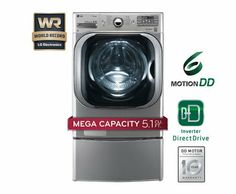 LG WM8000HVA TurboWash 5.1 Cu. Ft. Graphite Steel Stackable With Steam Cycle Front Load Washer - Energy Star