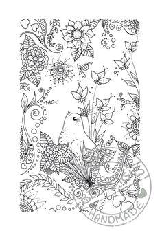 Flower Bird Abstract Doodle Zentangle Paisley Coloring pages colouring adult detailed advanced printable Kleuren voor volwassenen coloriage pour adulte anti-stress kleurplaat voor volwassenen Line Art Black and White