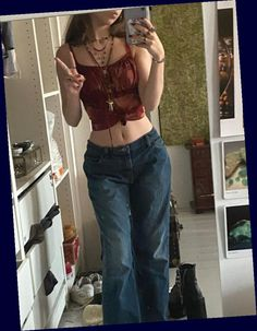 Hippie Outfits, Retro Outfits, Grunge Outfits, Cute Casual Outfits, Vintage Outfits, Grunge Dress, 2000s Fashion, Look Fashion, Fashion Outfits