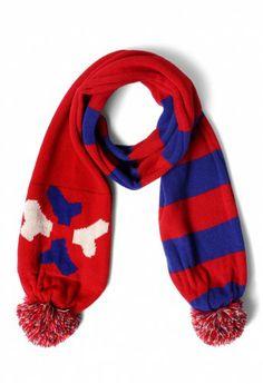 Strip Red Knit Scarf with Pom Pom #Chicwish