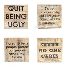 Rude Pallet wood coasters. Unique Wood coasters. by starlightwoods #unique #gift #housewarming #coasters #wood #pallet #handmade #funny #quotes