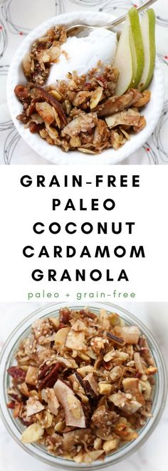 Grain-Free Paleo Coconut Cardamom Granola is a fantastic way to start your day. An egg-free, paleo, gluten-free breakfast and snack alternative to cereal. #paleo #grainfree #granola #paleogranola #grainfreegranola #coconutgranola via @frompastatopaleo