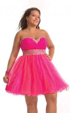 Hot Pink Mini Length Ball Gown Sweetheart Plus Size Dresses With Beads Belt Plusdress0030