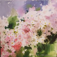 김선희수갤러리 Sketch Painting, Watercolor Flowers, Daisy, Plants, Blog, Colour, Paintings, Water Colors, Watercolor Artists