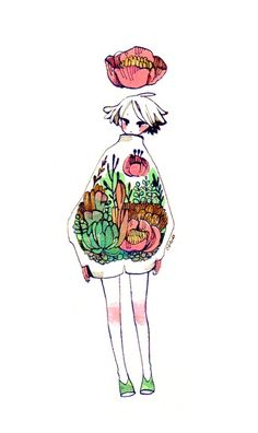 art by maruti-bitamin  I really admire how delicate and carefully planned her works are. The design is very whimsy, and I really like how only certain areas of the artwork are coloured, ie. the knees. Also a good example for a clean approach to line